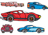 Set of comic non-brand sport and luxury cars