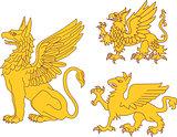 Set of heraldic griffins
