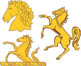 Set of heraldic horses