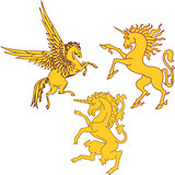 Set of mythic heraldic unicorns and pegasus