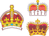 Set of heraldic royal and prince crowns