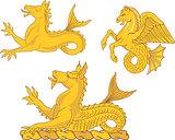 Set of heraldic sea horses