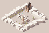 Vector isometric Main Market Square of the Krakow, Poland map