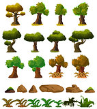 Cartoon nature landscape elements set, trees, stones and grass clip art, isolated on white background