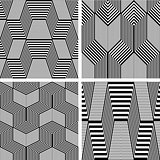 Seamless geometric op art patterns set.