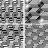 Zigzag patterns. Seamless textures set.