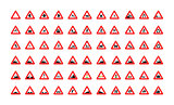 Set of triangular road signs isolated on white