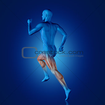 3D blue medical figure running