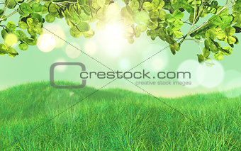 3D background of grass and leaves