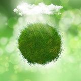 3D render of a grassy globe