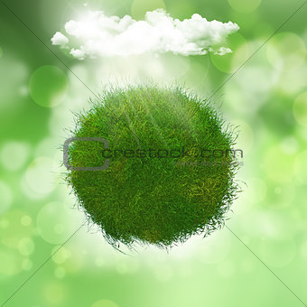3D render of a grassy globe