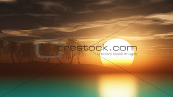 3D render palm trees at sunset