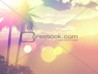 3D palm tree landscape with vintage effect