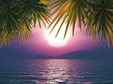 3D sunset ocean landscape