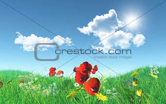 3D poppies in a grassy landscape