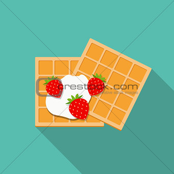 Breakfast Belgian Waffles with Cream and Strawberry Icon in Mode