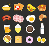 Breakfast Icon Set in Modern Flat Style Vector Illustration