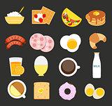 Breakfast Icon Set in Modern Flat Style Vector Illustration