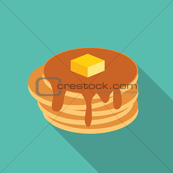 Breakfast Sweet Pancake Icon in Modern Flat Style Vector Illustr