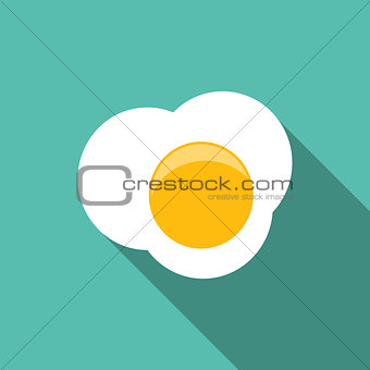 Breakfast Scrambled Eggs Icon in Modern Flat Style Vector Illust