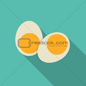 Breakfast Boiled Eggs Icon in Modern Flat Style Vector Illustrat