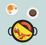 Breakfast Omelet with Sausage Icon in Modern Flat Style Vector I
