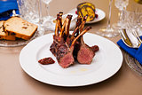 Lamb rack on a plate