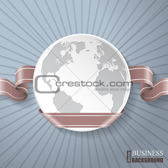 Abstract brochure with globe and brown ribbon