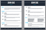 Simplistic modern resume cv with stripes