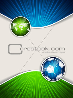 Abstract soccer brochure with blue ball and green map