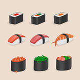 Japanese Food Sushi and rolls