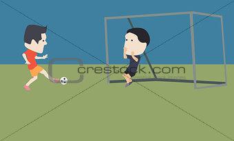 Football players goal