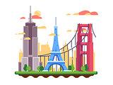 Famous landmarks flat design