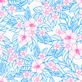 Summer colorful hawaiian seamless pattern with tropical plants and hibiscus flowers.
