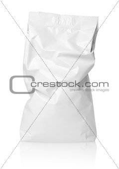Crumpled blank paper bag package with creases on white