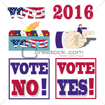 American presidential election 2016 badges and vote labels.