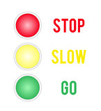 Traffic lights sign isolated on white background.