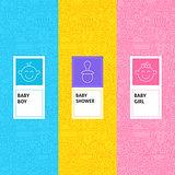 Line Baby Shower Patterns Set