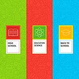 Line School Education Patterns Set