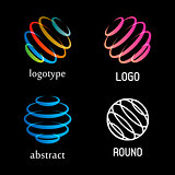 Isolated abstract colorful round shape vector logo set. Rings elements logotypes collection. Spinning spirals icons group. Hurricane, tornado vector illustrations. Kids whirligig logotypes.