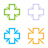 Isolated colorful cross vector logo set. Medical signs contour logotypes collection. Hospital symbols group on the white background. Religious icons. Arithmetic plus symbols.