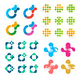 Isolated abstract vector logo set. Medical cross logotypes collection.