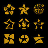 Isolated golden stars vector logo set. Space elements logotypes collection.