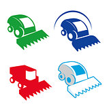 Isolated colorful combine vector logo set. Agricultural equipment logotypes.