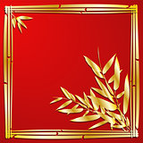 Bamboo branches on red background.
