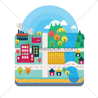 City and Nature Landscape Layer Flat Style