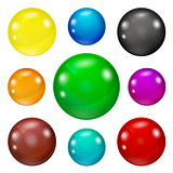 Set of colored glossy and shiny balls