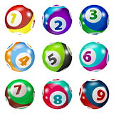 Set of Lottery Colored Number Balls