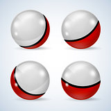 Set of red and white glossy balls