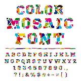 Broken colored alphabet on a light background